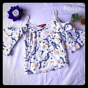 Saks off shoulder blue yellow floral chain top